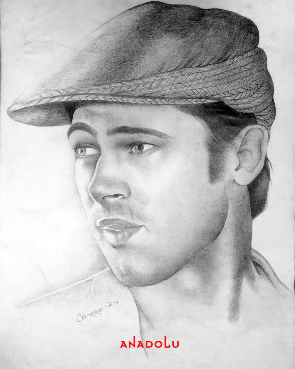 Brad Pitt Karakalem Çizimleri Antalyada