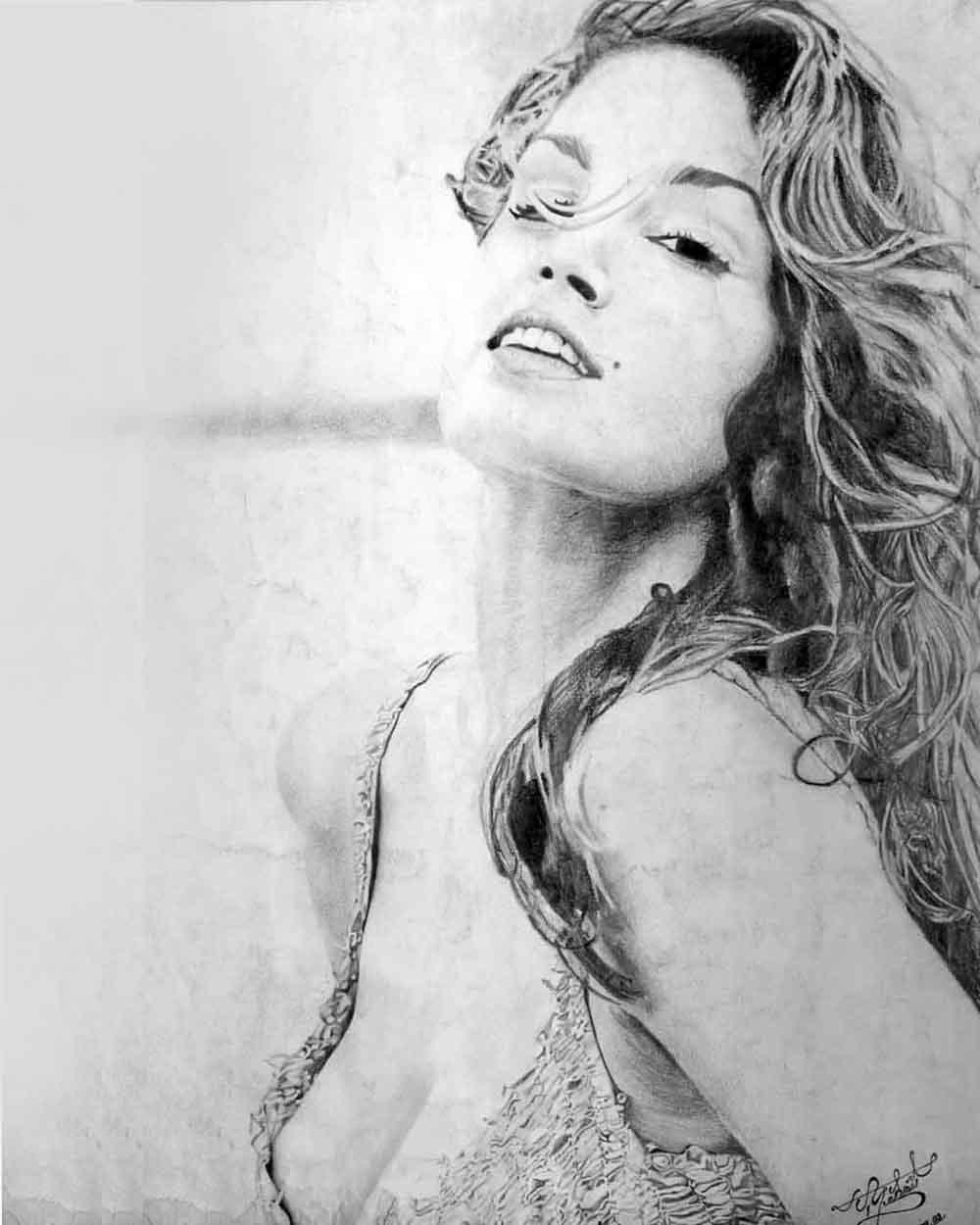 Cindy Crawford Kara Kalem Çizimi Antalyada