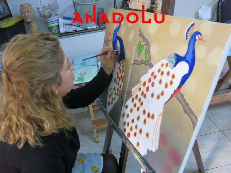 Yağlıboya Tavuskuşu Çizimleri Antalyada