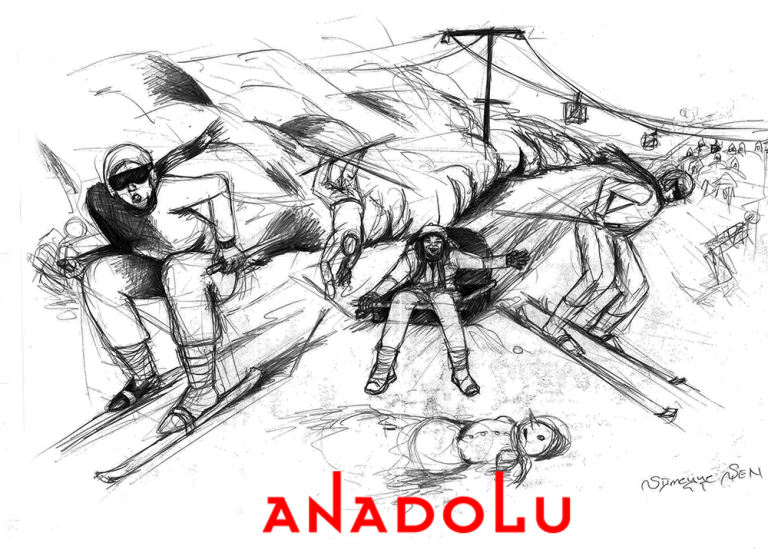 Karakalem İmgesel Kayak Yapan İnsanlar Çizimi Antalyada