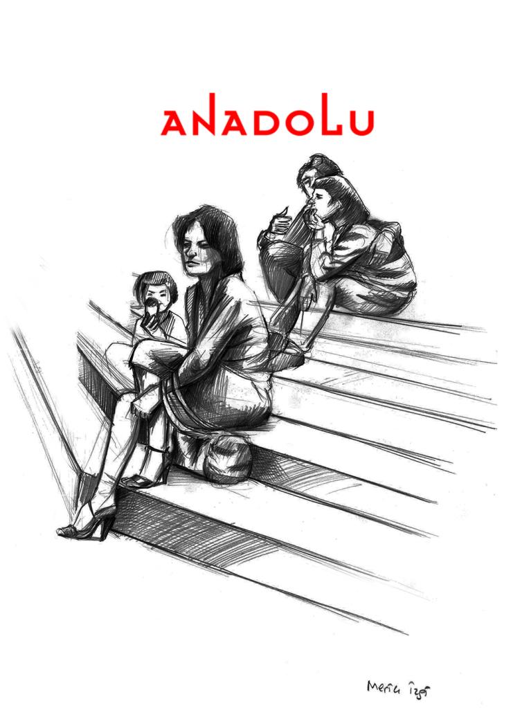 Karakalem Merdivende Oturan Anne Ve Çocuk Çizimi Antalyada
