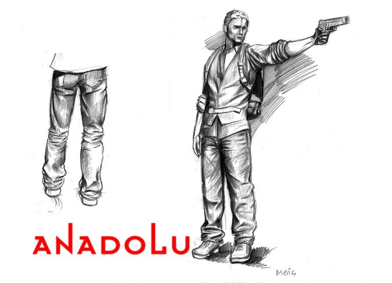Karakalem Silahlı Atış Yapan İnsan Çizimleri Antalyada