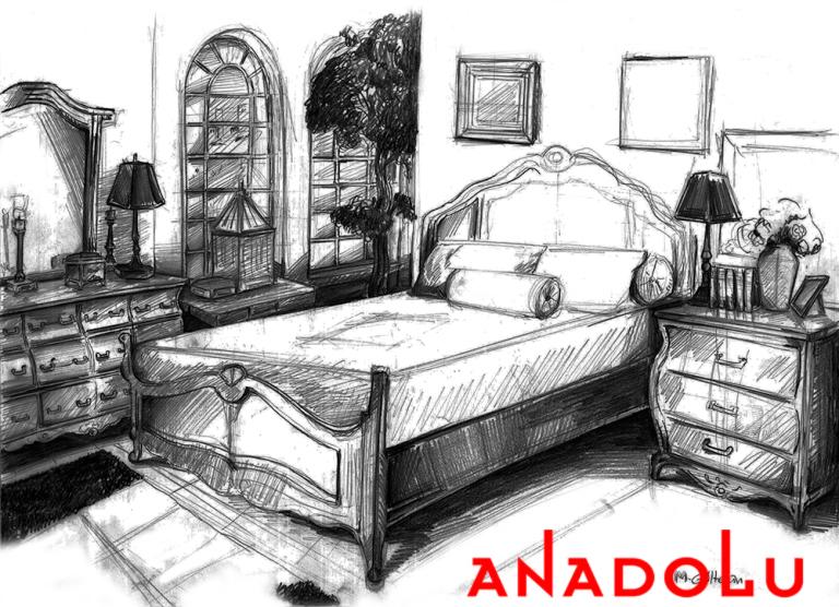 Antalyada Bir Yatak Odası Çizimleri