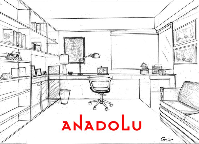 Çalışma Odası Çizim Görselleri Antalyada