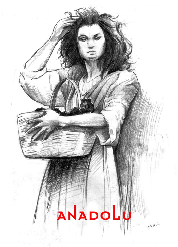 Karakalem Ayakta Kadın Model Çizimi Antalyada