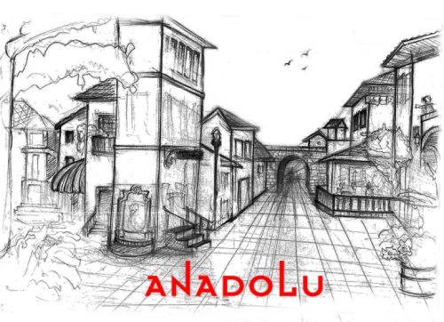 Karakalem Bir Sokak İmgesel Çizim Örneği Antalyada